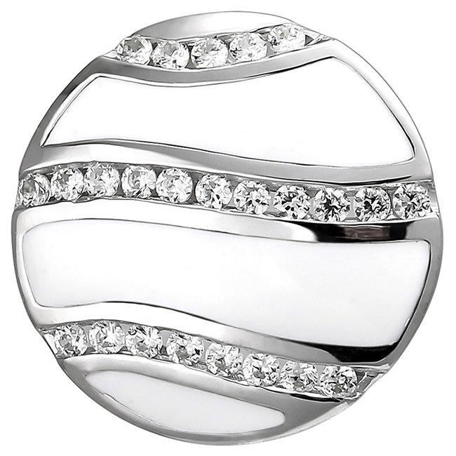 Kettinghanger 925 sterling zilver met 24 zirkonia's en wit emaille