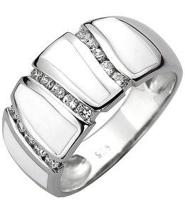 Aurora Patina Silver ring with 15 zirconias and white enamel