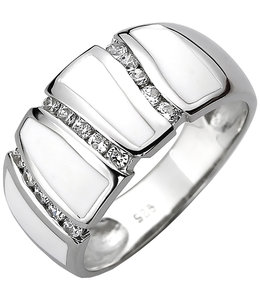 JOBO Silver ring with 15 zirconias and white enamel