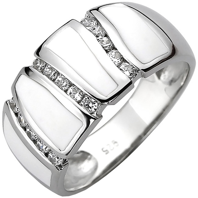 Silver ring with 15 zirconias and white enamel insets