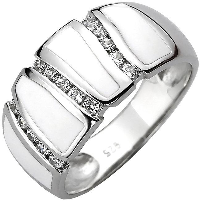Zilveren ring met 15 zirkonia's en ingezet wit emaille