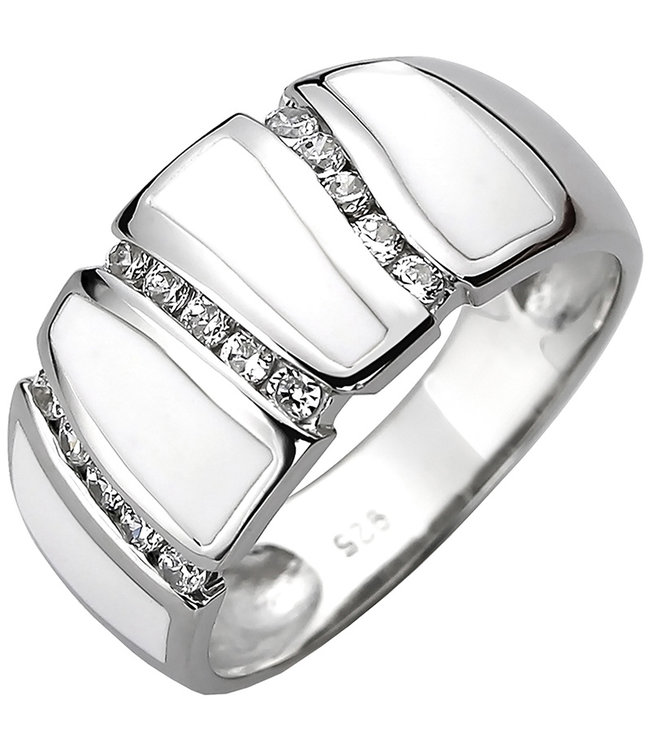 JOBO Silver ring with 15 zirconias and white enamel insets