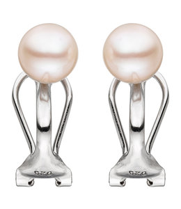 JOBO Silver earclips with freshwater pearls 6-7 mm
