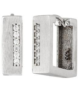 Aurora Patina Vierkante zilveren creolen gematteerd met zirkonia's