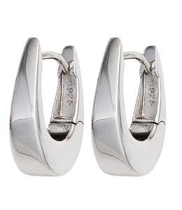 JOBO Silberne Kreolen oval zulaufend