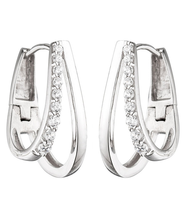 JOBO Sterling silver creoles (925) with zirconias