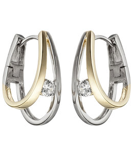 Aurora Patina Silver creoles partly gold plated with zirconia