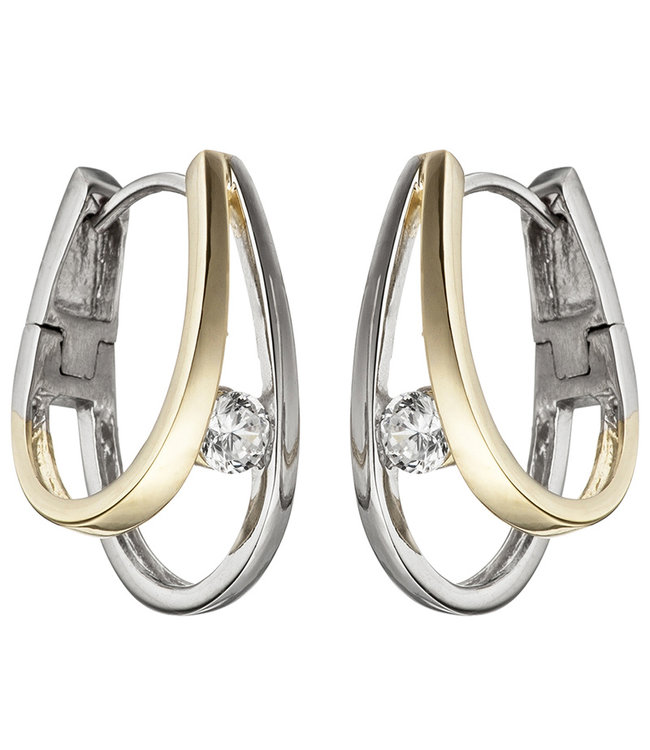 JOBO Sterling silver creoles (925) partly gold plated with zirconia