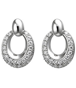 JOBO Oval silver earring studs with zirconia