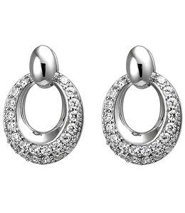 JOBO Ovale zilveren oorstekers met zirkonia