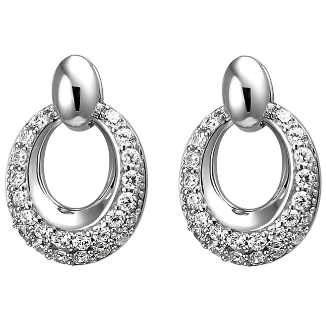 Oval silver earring studs with 52 zirconias