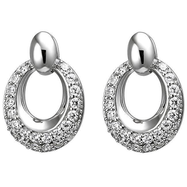 Ovale zilveren oorstekers met 52 zirkonia's