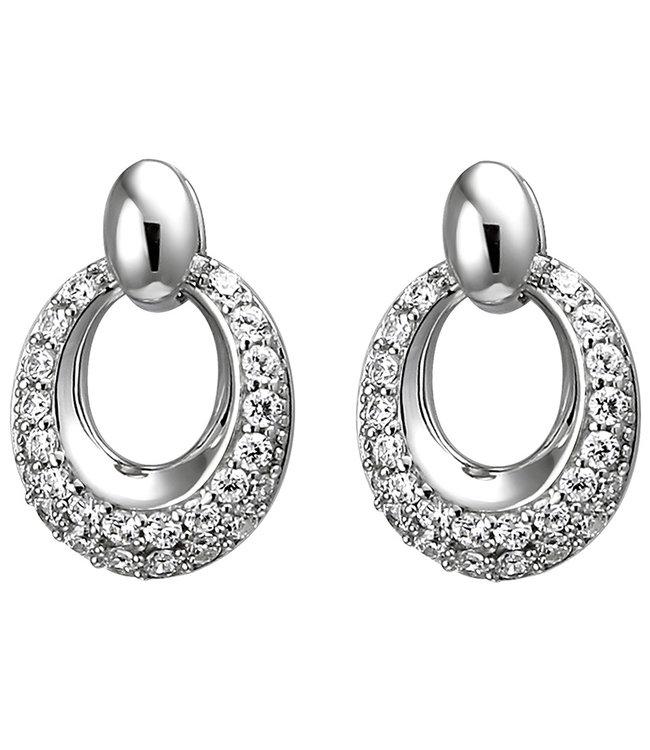 JOBO Ovale zilveren oorstekers met 52 zirkonia's