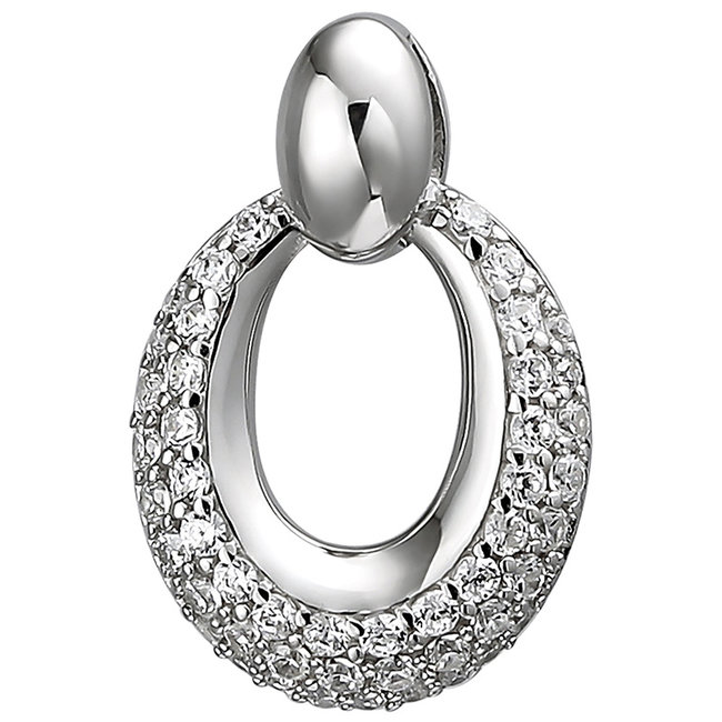 Oval pendant in 925 sterling silver with 50 zirconias