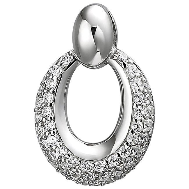Ovale kettinghanger 925 sterling zilver met 50 zirkonia's
