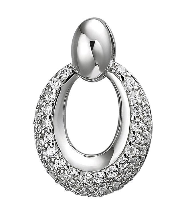 Aurora Patina Ovale kettinghanger 925 sterling zilver met 50 zirkonia's