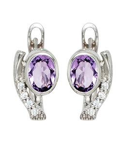 Aurora Patina Silver creoles with purple and white zirconias