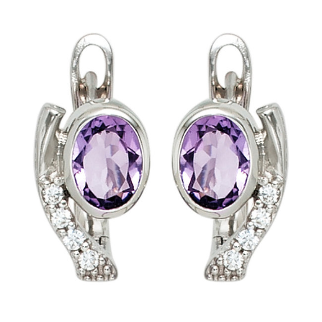 Sterling silver creoles (925) with purple and white zirconias