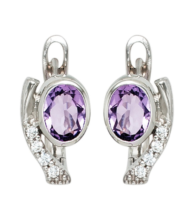 JOBO Sterling silver creoles (925) with purple and white zirconias