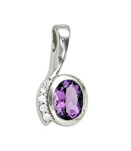 JOBO Silver pendant with purple and white zirconias