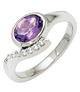 JOBO Silver ring with purple and white zirconias