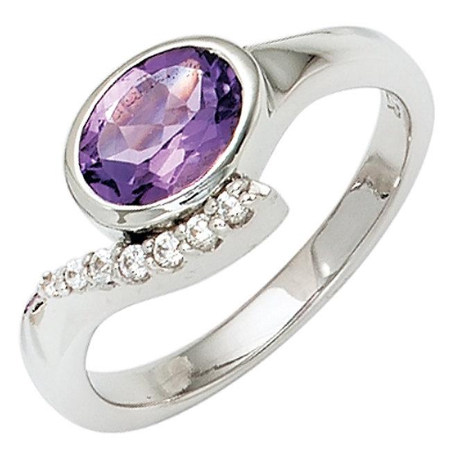 Ring in 925 sterling zilver met paarse en witte zirkonia's