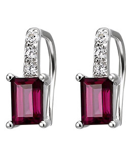 JOBO Silver earrings with rhodolite and zirconias