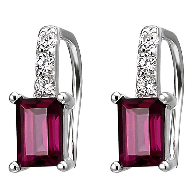 Silver earrings with 2 rhodolite and 6 zirconias