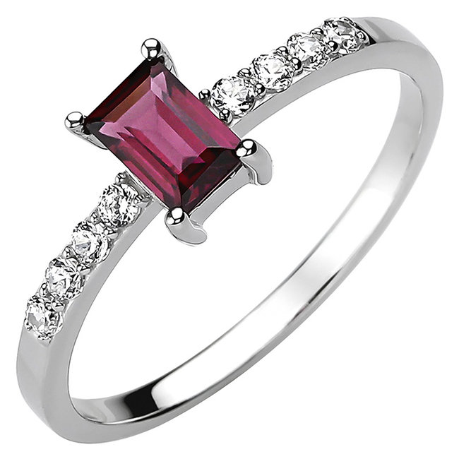 Ring in 925 sterling silver with rhodolite and 8 zirconias