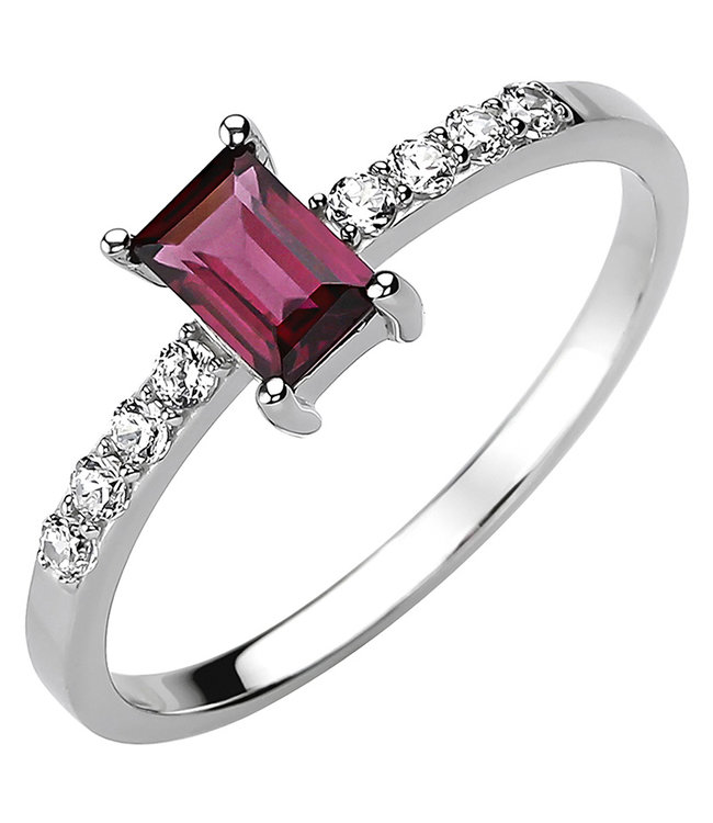JOBO Ring in 925 sterling silver with rhodolite and 8 zirconias