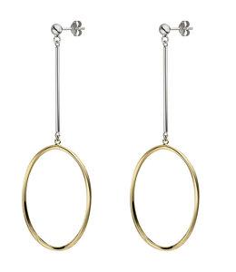 JOBO Ovale zilveren oorbellen verguld met oorstekers