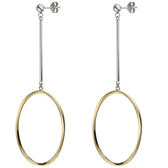 Oval silver earrings gold plated with ear studs
