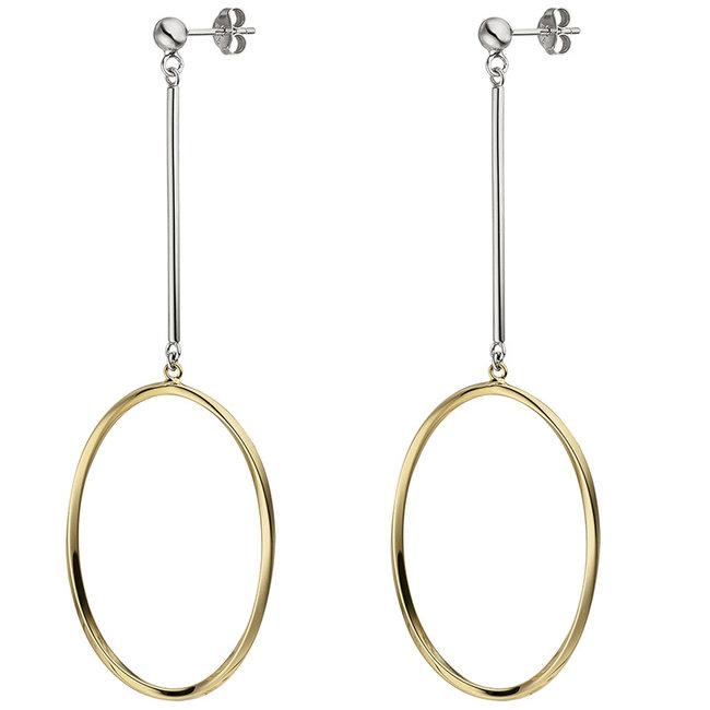 Ovale zilveren oorbellen verguld met oorstekers