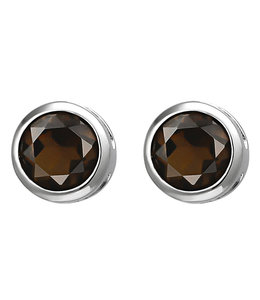 JOBO Zilveren oorstekers rookkwarts 6 mm