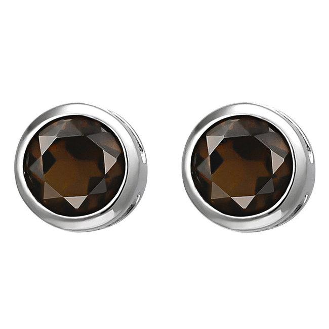 Zilveren oorstekers bruine rookkwarts 6 mm