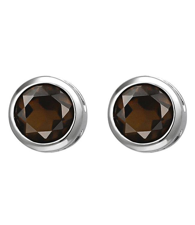 Aurora Patina Zilveren oorstekers bruine rookkwarts 6 mm