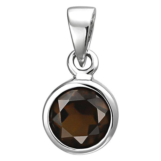 Kettinghanger 925 sterling zilver met een bruine rookkwarts