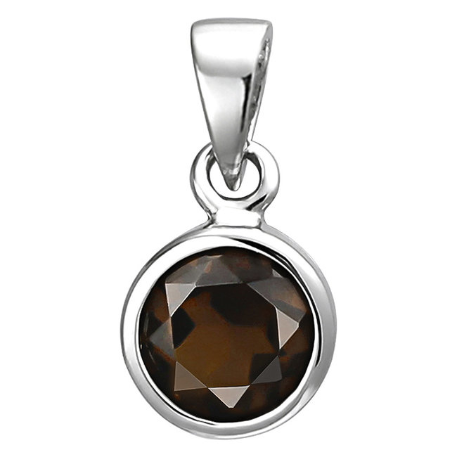 Pendant in 925 sterling silver with a brown smoky quartz