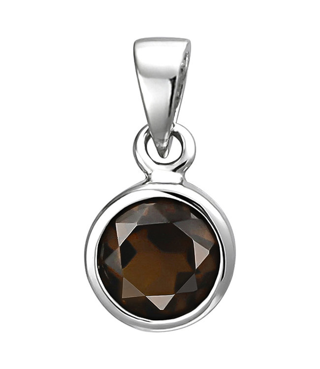 Aurora Patina Pendant in 925 sterling silver with a brown smoky quartz