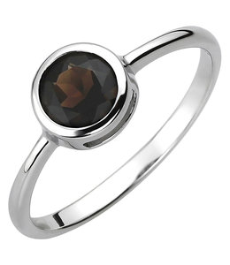 JOBO Silver ring with smokey quartz
