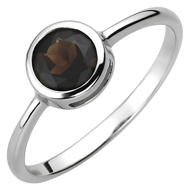 Ring in 925 sterling zilver met rookkwarts ca. 6 mm