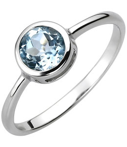 JOBO Zilveren ring met blauwtopaas