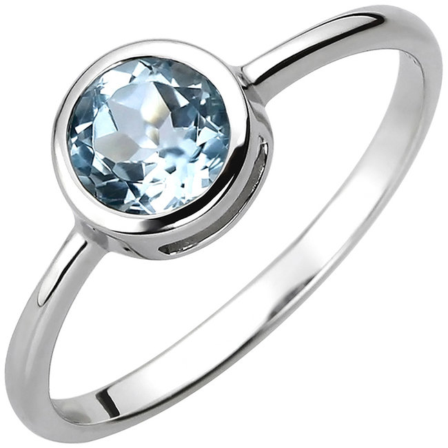 Ring in 925 sterling zilver met blauwtopaas ca. 6 mm