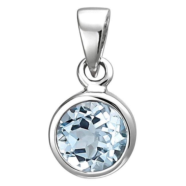 Kettinghanger 925 sterling zilver met blauwtopaas 6 mm