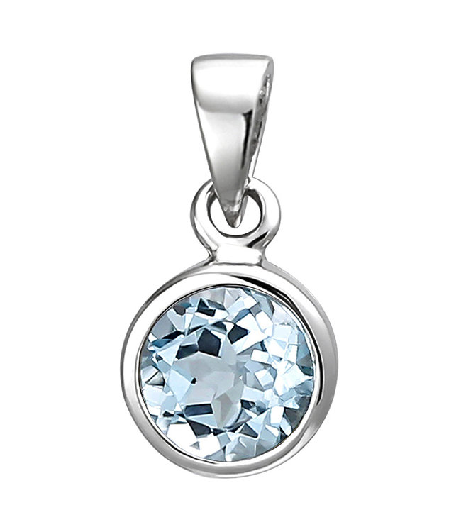 Aurora Patina Pendant in 925 sterling silver with blue topaz 6 mm