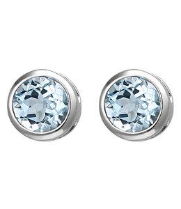 JOBO Silver earstuds blue topaz 6 mm