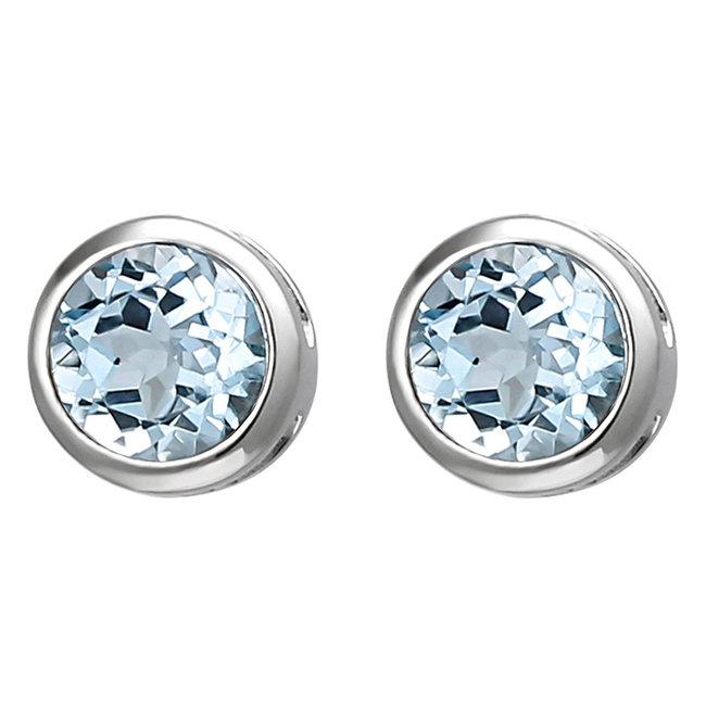 Aurora Patina Zilveren oorstekers blauwtopaas 6 mm