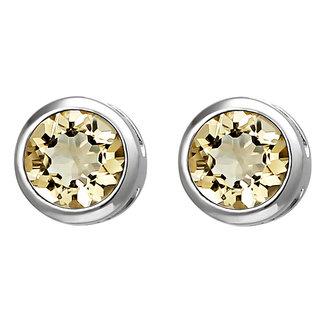 Aurora Patina Silver earstuds citrine 6 mm