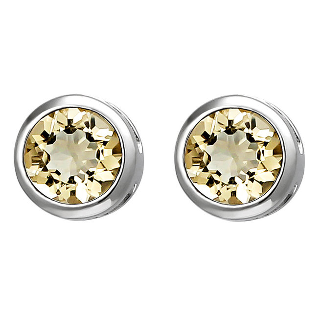 Sterling silver earstuds yellow citrine 6 mm