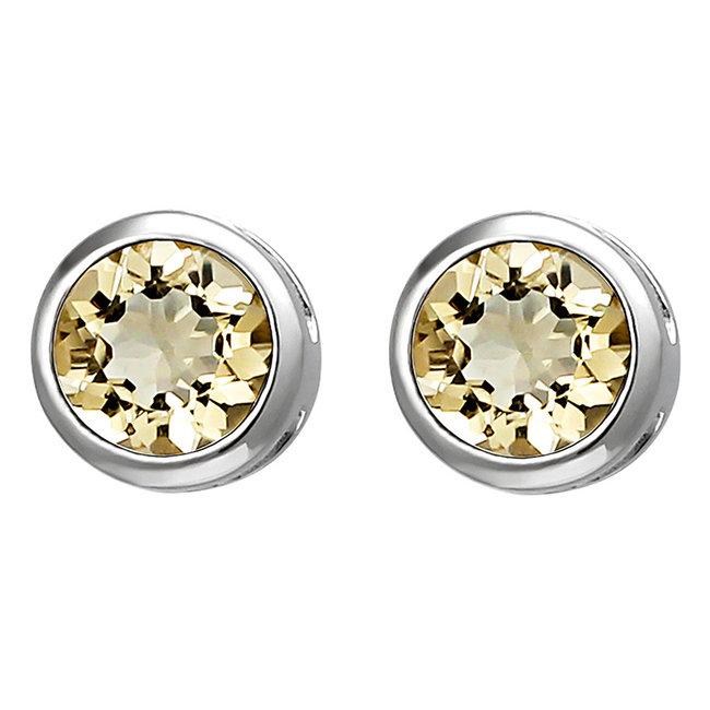 Zilveren oorstekers met gele citrien 6 mm